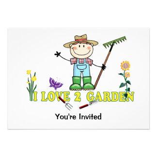 Light Guy Farmer Brunette I Love 2 Garden Custom Invitations