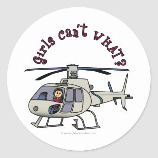 Light Helicopter Girl Classic Round Sticker