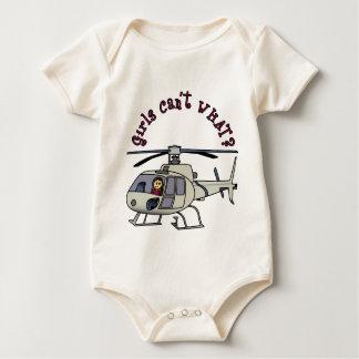 Light Helicopter Pilot Girl Baby Bodysuit