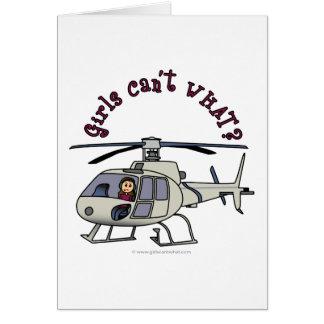 Light Helicopter Pilot Girl Card