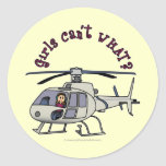 Light Helicopter Pilot Girl Round Sticker