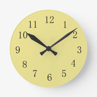 Light Khaki Yellow Kitchen Wall Clock