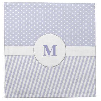 Light Lavender Monogram Mixed Pattern Napkin