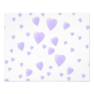 Light Lilac and White Love Hearts Pattern. 11.5 Cm X 14 Cm Flyer