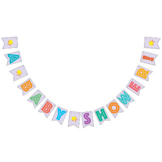 LIGHT LILAC MULTICOLORED ☆ A BABY SHOWER ☆ SIGN BUNTING