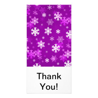 Light Lilac Snowflakes Personalized Photo Card