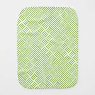 Light Lime Green Crosshatch Pattern Baby Burp Cloths