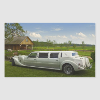 Light limousine in the meadow rectangular sticker