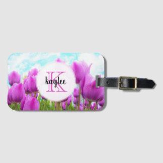 Light Magenta Feminine Tulips Monogrammed Luggage Tag