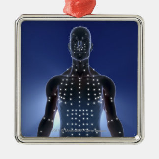 Light map of acupuncture points christmas ornament