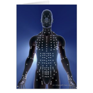Light map of acupuncture points greeting card