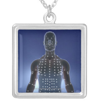 Light map of acupuncture points silver plated necklace