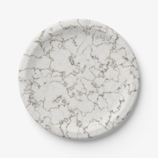 Light marble effect customised buffet party paper plate