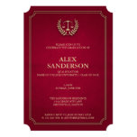 Light Maroon and Gold Law School Graduation 13 Cm X 18 Cm Invitation Card