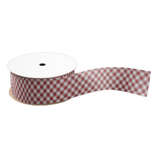 Light Maroon Red Country Cottage Gingham Stripes Grosgrain Ribbon