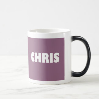 Light maroon shade Chris name Magic Mug