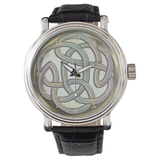 Light Metallic Gold Celtic Knot Wrist Watch