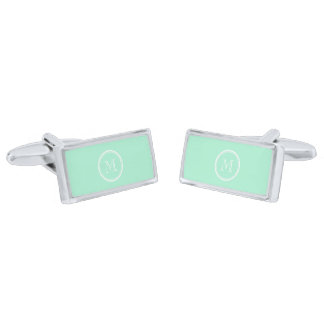 Light Mint Green High End Colored Silver Finish Cuff Links