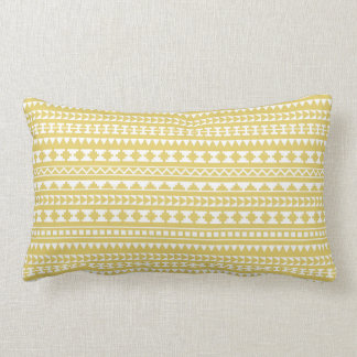 Light Mustard Yellow Aztec Tribal Pattern Lumbar Cushion