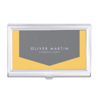 Light Orange and Grey Modern Professional Business Card Holder