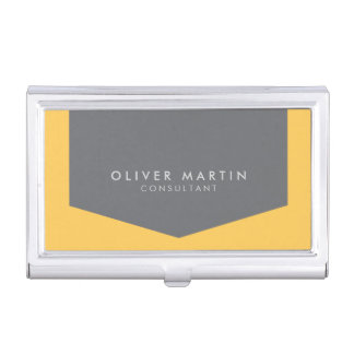 Light Orange and Grey Modern Professional Business Card Holders