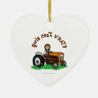 Light Orange Farmer Christmas Ornament