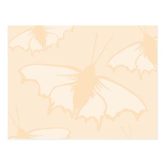Light Orange Peach Color Butterfly Design. Postcards