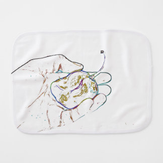 light outline pepper hand colorful food image baby burp cloth