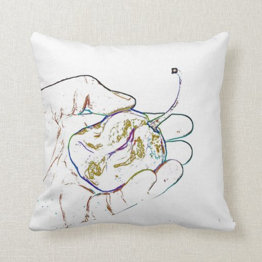 light outline pepper hand colorful food image pillow