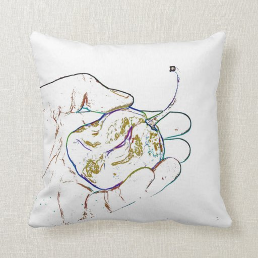 light outline pepper hand colorful food image throw pillows