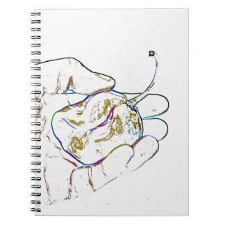 light outline pepper hand colorful food image notebook