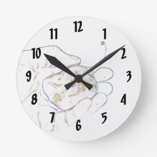 light outline pepper hand colorful food image wall clock