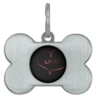 Light Painting Heart Pet ID Tag