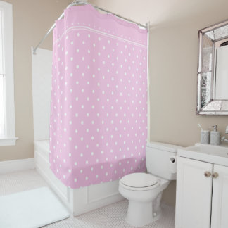 Light Pale Pink White Polka Dot Spot Pattern Shower Curtain