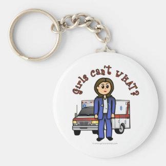 Light Paramedic Girl Basic Round Button Key Ring