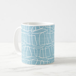 Light Pastel Blue Modern Round Squares Pattern Coffee Mug