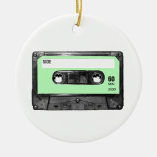 Light Pastel Green Vintage Cassette Double-Sided Ceramic Round Christmas Ornament