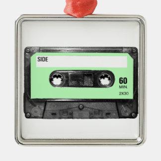 Light Pastel Green Vintage Cassette Silver-Colored Square Decoration