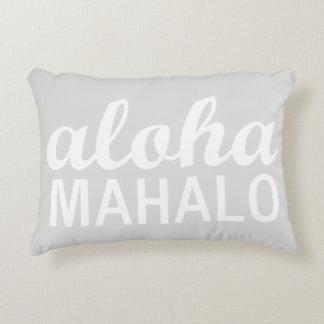 Light Pastel Grey Aloha Mahalo Typography Hawaiian Decorative Cushion