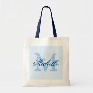 Light pastel & navy blue monogram wedding tote bag