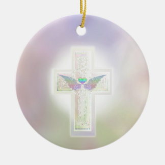Light pastel pearl cross with heart and angel wing round ceramic decoration