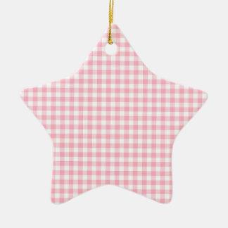 Light Pastel Pink and White Gingham Ceramic Star Decoration