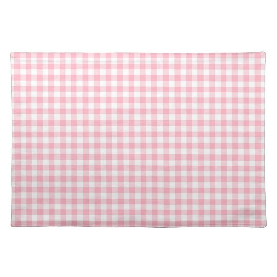 Light Pastel Pink and White Gingham Placemat