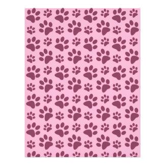 Light pastel pink dog paw print pattern 21.5 cm x 28 cm flyer