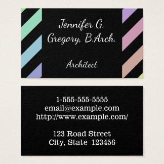 Light Pastel Stripes Architect Business Card