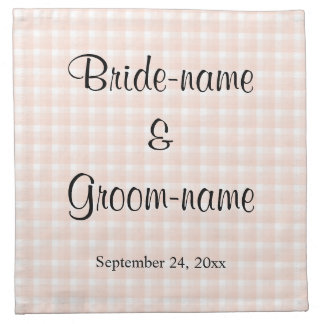 Light Peach Pink Check Pattern Wedding Napkin
