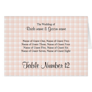 Light Peach Pink Check Pattern Wedding Place Cards