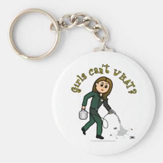 Light Pest Control Girl Basic Round Button Key Ring