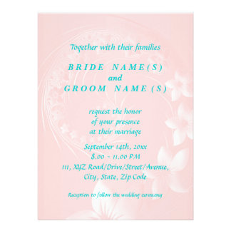 Light Pink Abstract Flowers Personalized Invite