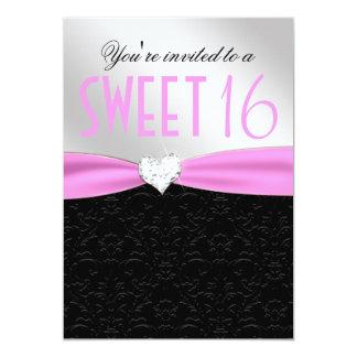Light Pink and Black Floral Damask Diamond Heart 13 Cm X 18 Cm Invitation Card